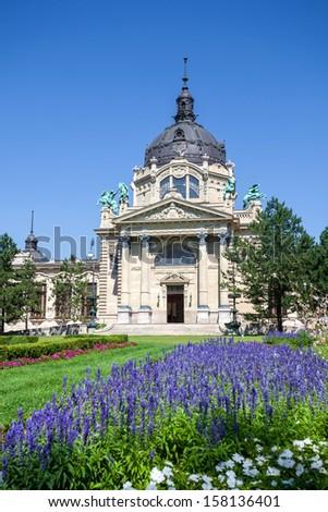 Szechenyi Medicinal Thermal Baths and Spa, Budapest, Hungary. - stock photo