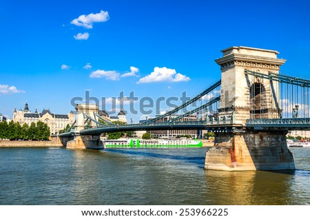 Szechenyi or Lanchid Chain Bridge is the first stone-bridge over Danube, one of the symbolics of Budapest, Hungary - stock photo