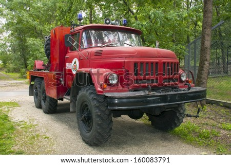 SZEGED, HUNGARY - SEPTEMBER 21. 2013. - old Soviet truck, Zil in a public emergency drill for firemen in Szeged Zoo.
