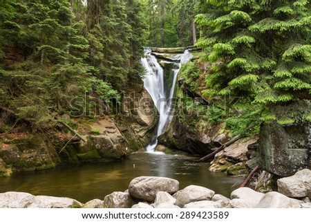 Szklarki Waterfall in Southern Poland - stock photo