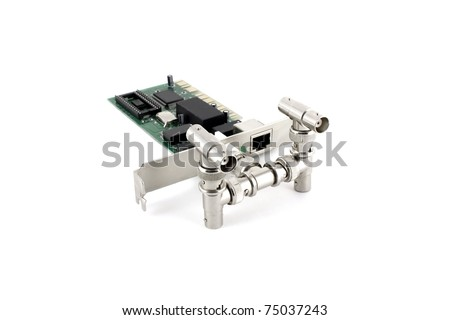 T-branch boxes and network card for computer over white - stock photo