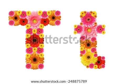 t, flower alphabet - stock photo