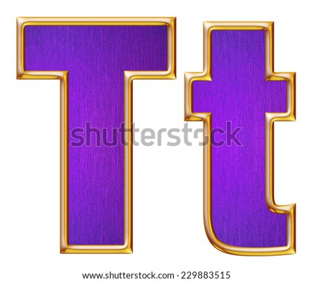 T letter of small and big from violet with gold shiny frame alphabet set, isolated on white. Computer generated 3D photo rendering.  - stock photo