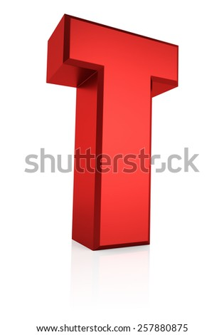 T letter. Red letter on reflective floor. White background. 3d render - stock photo