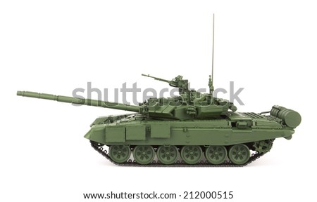 T-90 Main Battle Tank, isolated on white background. Model.