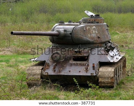 T-34 on the grass - stock photo