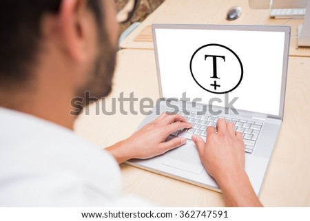 T plus circle against cropped businessman using laptop at desk - stock photo