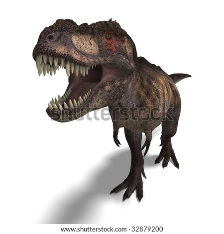 T-Rex. 3D render with clipping path and shadow over white - stock photo
