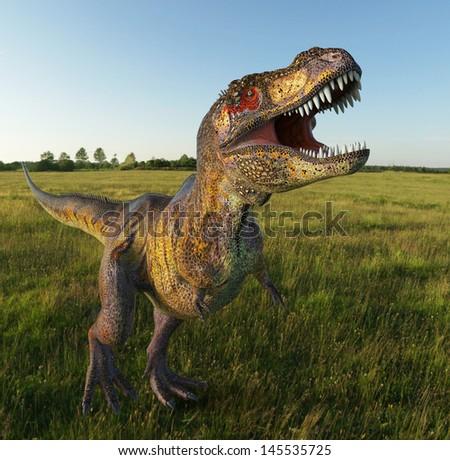 t rex on grass - stock photo