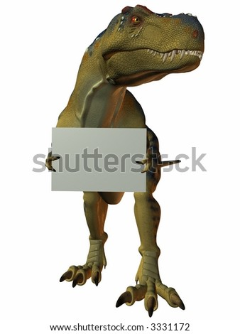 T-Rex with Sign - stock photo