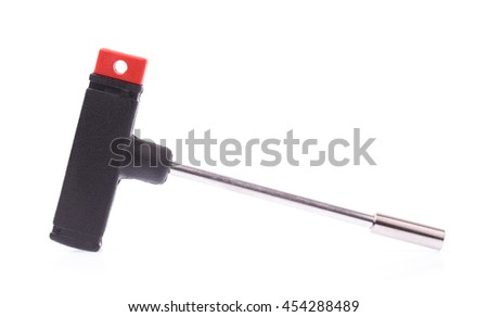 T-shape screwdriver without bit isolated on white background - stock photo