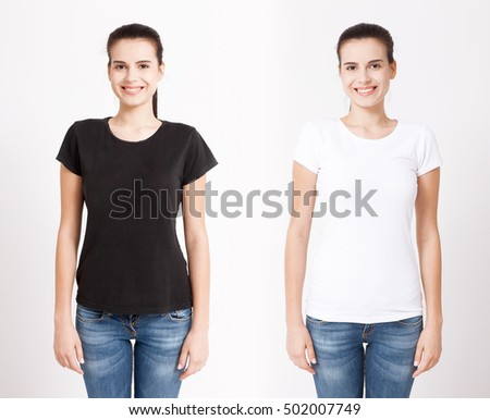 T-shirt design and people concept - close up of young woman in blank black and white t-shirt isolated.