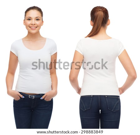 t-shirt design and people concept - smiling young woman in blank white t-shirt