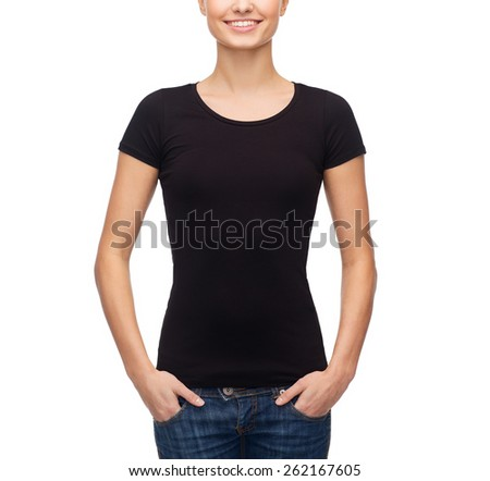 t-shirt design concept - smiling woman in blank black t-shirt - stock photo