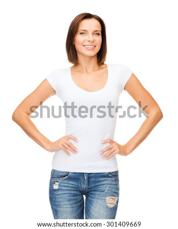 t-shirt design concept - smiling woman in blank white t-shirt - stock photo