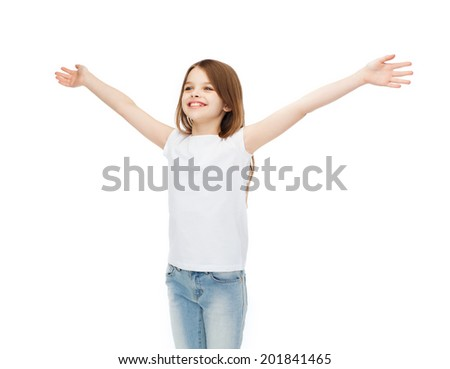 t-shirt design, happiness, freedom, future concept - smiling teenage girl in blank white t-shirt with raised hands