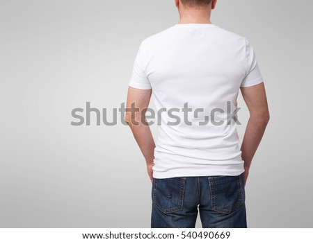T-shirt design, people concept - closeup of man in blank white shirt, rear view isolated. Mockup template for design.