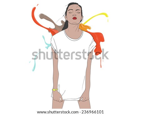 T-shirt girl with color paint