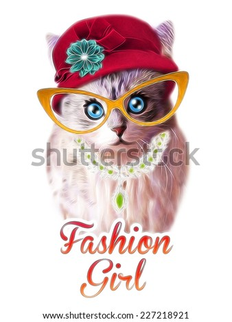 T-shirt Graphics / cute cat illustration / cat poster / cat graphics for textiles / princess cat design / adorable cute cat / tabby cat - stock photo