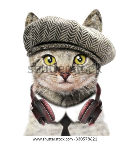 T-shirt graphics/cute cat illustration/watercolor cat/cat poster/cat graphics for textiles/musician cat/adorable cute cat/tabby cat/rock and roll/watercolor animal print/watercolor scottish cat - stock photo