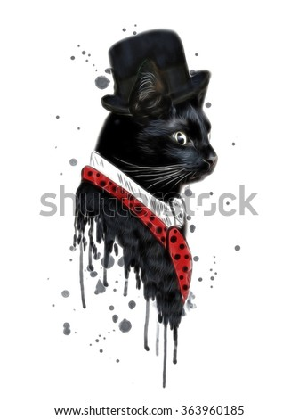 T-shirt graphics/cute cat illustration/watercolor cat/cat poster/cat graphics for textiles/musician cat/adorable cute cat/tabby cat/black cat/watercolor animal print/scottish cat/funny cat - stock photo