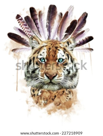 T-shirt Graphics / illustration tiger /Face of a white bengal tiger,/isolated on white background /Mask of the biggest cat / Wild beauty of the most dangerous and mighty beast/native american symbol - stock photo
