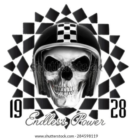 T-shirt Graphics,skull print,skull illustration,evil skull,concert posters,skull canvas print,skull tattoo design,skull artwork,black and white - stock photo