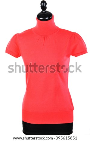 T-shirt knitted with collar on a mannequin isolated on white - stock photo