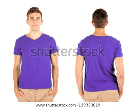 T-shirt on young man in front and behind isolated on white