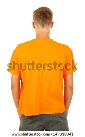 T-shirt on young man isolated on white