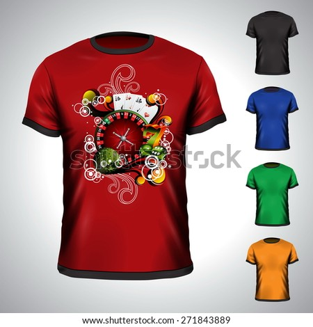 T-shirt set on a casino holiday theme with roulette wheel. JPG version. - stock photo