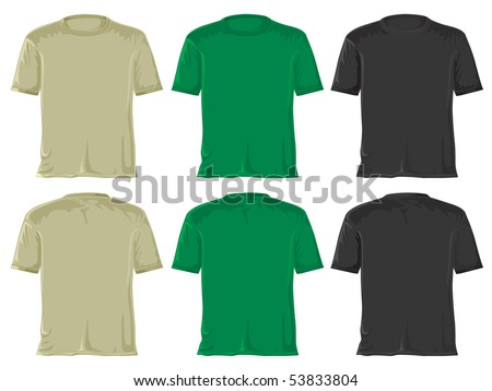 T-shirt set. Without gradients, great for printing. Black green. JPEG version - stock photo