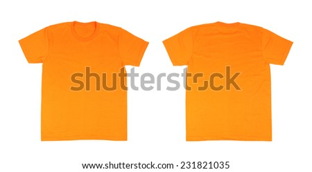 t-shirt template set(front, back) on white background - stock photo