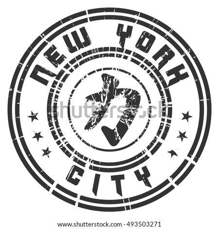 T shirt typography graphic New York. Athletic style NYC. Quote with Kanji character for Power, Force. Fashion print sports wear. Template apparel, card, poster. Chinese character. illustration