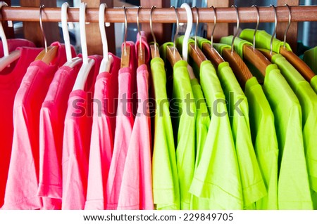 t-shirt with hanger - stock photo