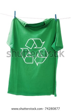 T-shirt with the recycle symbol - stock photo