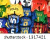 t-shirts of european and italian soccer teams - stock photo