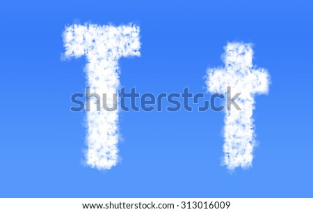 T t font clouds,English alphabet from clouds