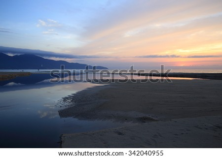 T20, T18, My Khe Beach, Danang, Da nang, Vietnam in the sunrise. You can enjoy the Han river, Son Tra mountain, Beautiful beach in the heart of this beautiful city. 30 km far away from Hoi An.