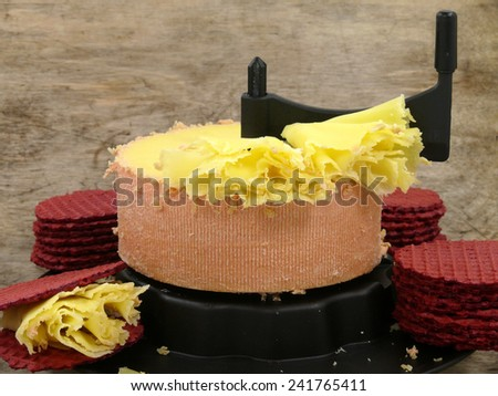 t�ªte de moine cheese - stock photo