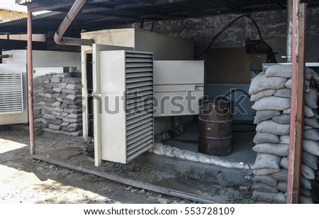 T-walls and sandbags protecting generators in Afghanistan