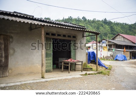 TA PHIN, LAO CAI, VIETNAM - SEP 21, 2014: House in the Ta Phin village. Ta Phin village famous because of the minority ethnic group of Red Dao people who live here