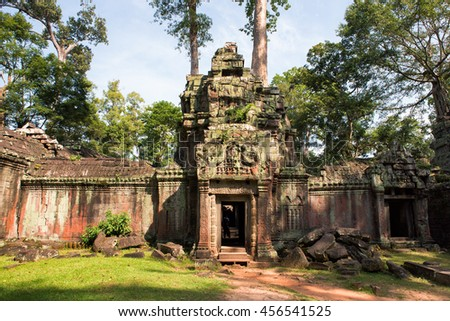 Ta Phrom temple ruins in Angkor, Siem Reap, Cambodia
