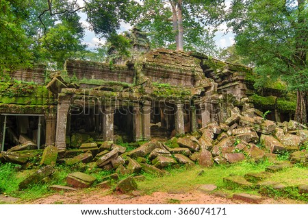 Ta Prohm, part of Khmer temple complex, Asia. Siem Reap, Cambodia. Ancient Khmer architecture in jungle