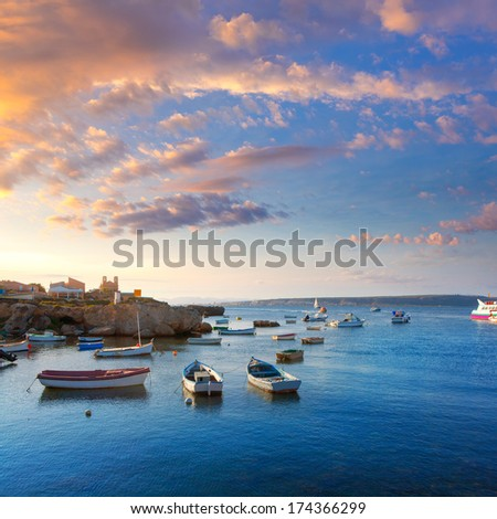 Tabarca island boats in Alicante Valencia Province of Spain - stock photo