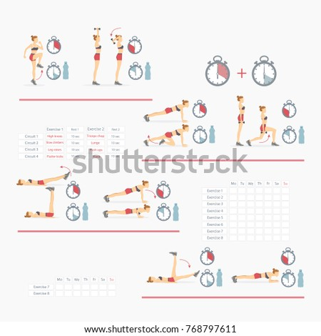 Tabata Protocol Workout Full Schedule Instructions Stock