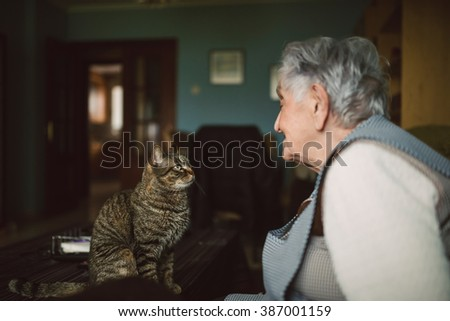 Tabby cat and elderly woman looking at each other at home