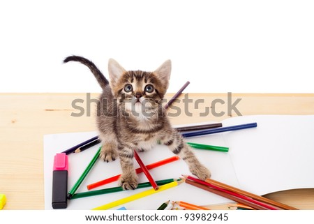 Tabby kitten on table with color pencils looking up, isolated on white - stock photo