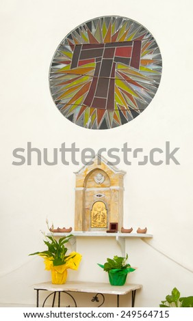 Tabernacle in a chapel of a church for the conservation of communions. - stock photo