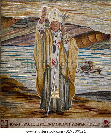 Tabgha - SEPTEMBER 15 : Pope John Paul II mosaic in Tabgha on September 15, 2014 in Tabgha, Israel. - stock photo